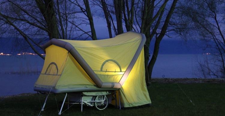 B-Turtle: Microcaravan für E-Bikes - Fahrradanhänger mit Zelt
